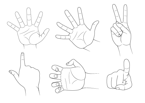 Anime hand poses drawing