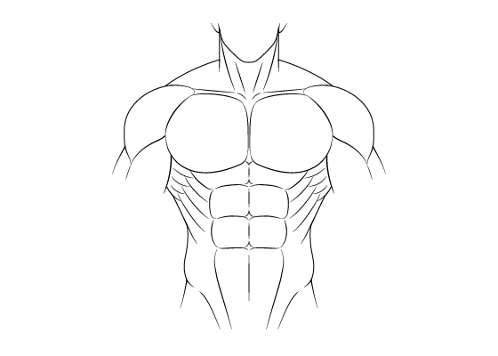 Anime muscular male body