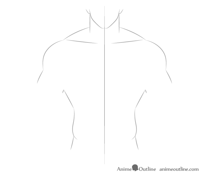 Anime muscular male body collar bones