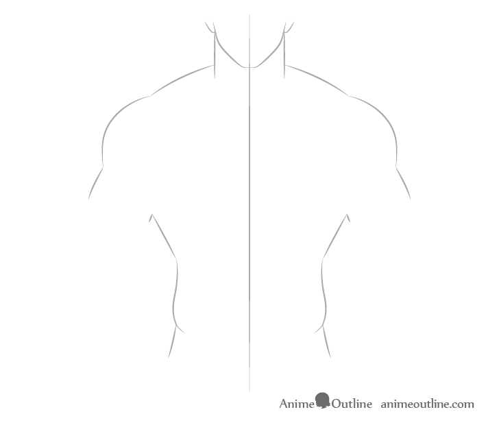 Anime muscular male body outline drawing