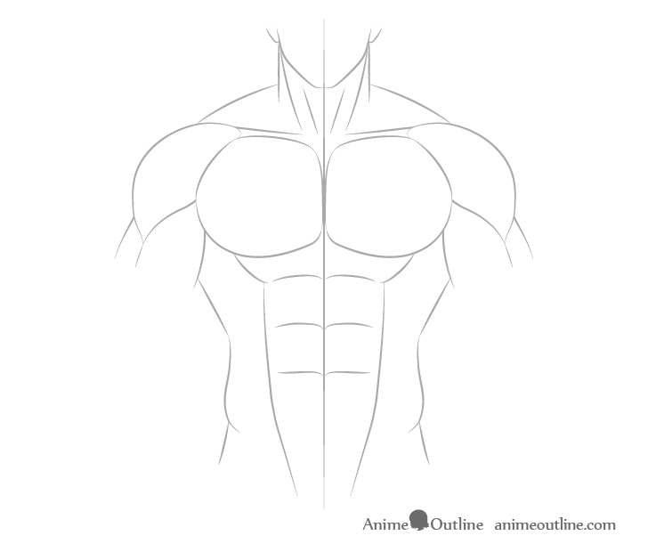 Anime muscular male neck drawing