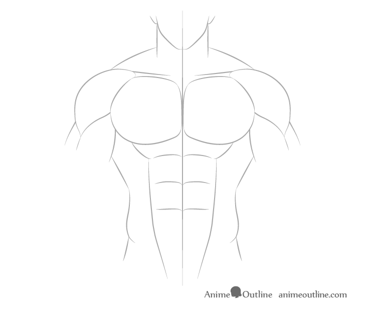 Anime muscular male shoulders drawing