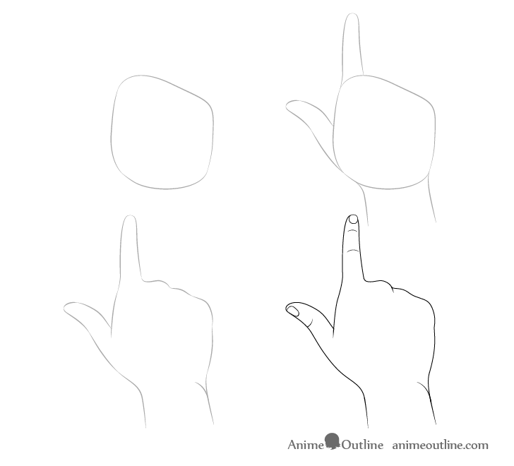 Finger pointing away hand drawing step by step