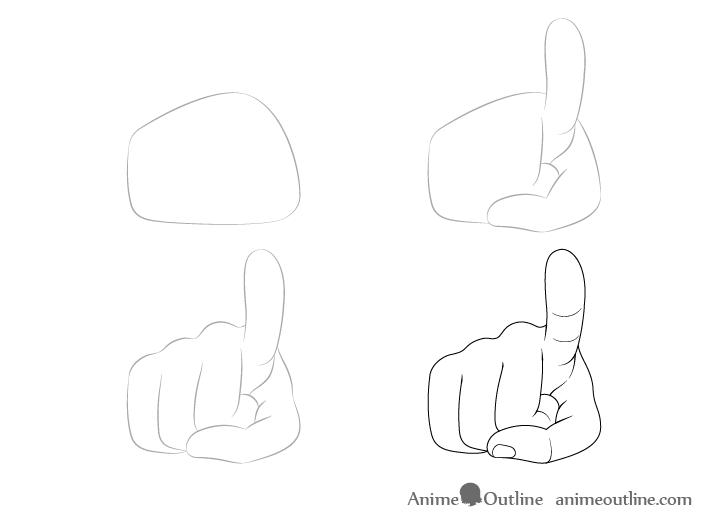 Dedo señalando dibujo a mano paso a paso