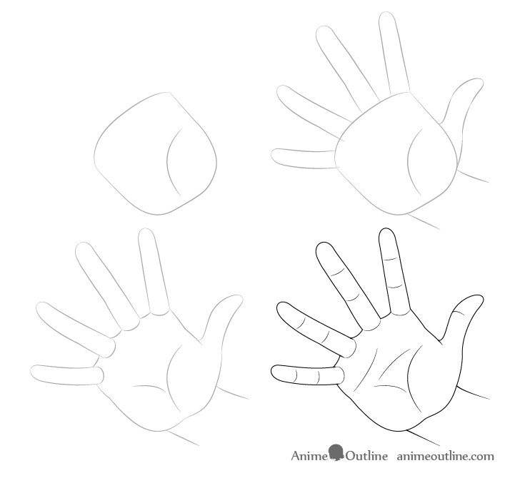 Hand casting drawing step by step