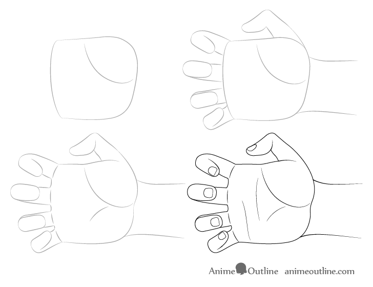 Hand claw drawing step by step