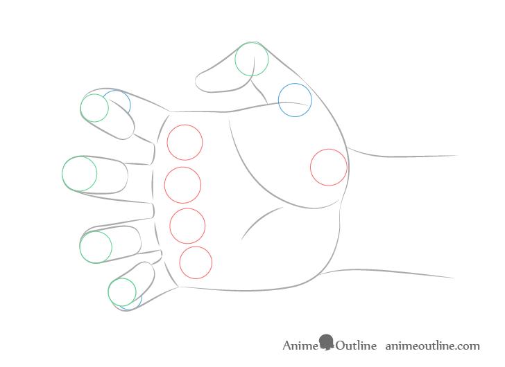 Dibujo de articulaciones de mano alcanzando