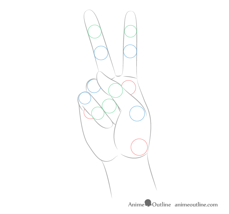 Hand peace joints shape drawing