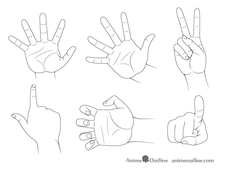 how to draw hand poses step by step animeoutline how to draw hand poses step by step