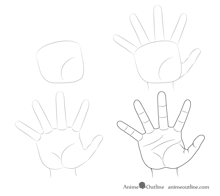 Hand reaching drawing step by step