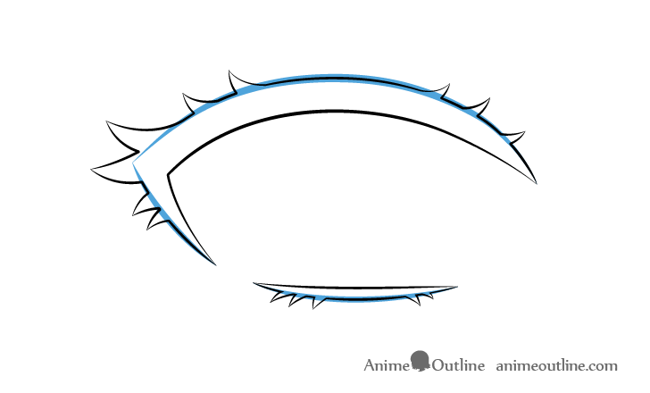 Anime eyelashes curve drawing