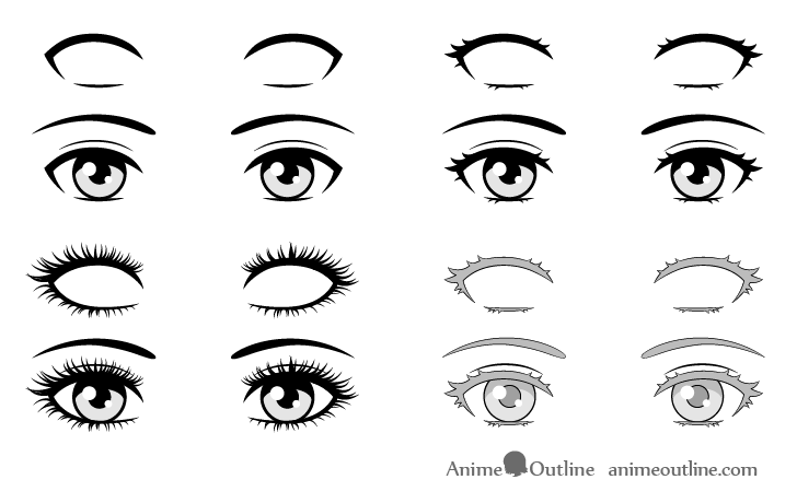Anime eyelashes different styles drawing