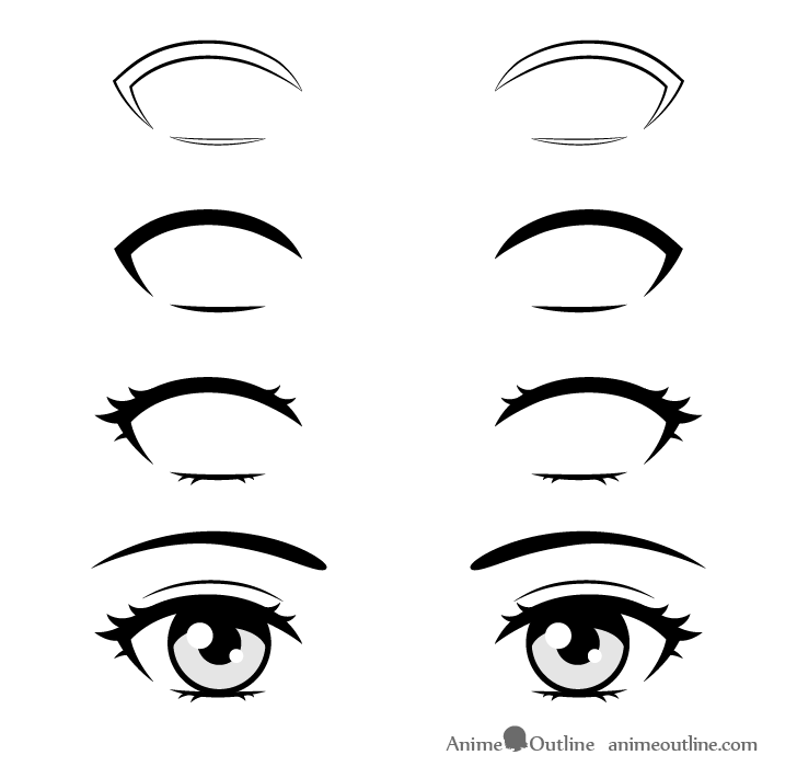 Anime eyelashes drawing step by step