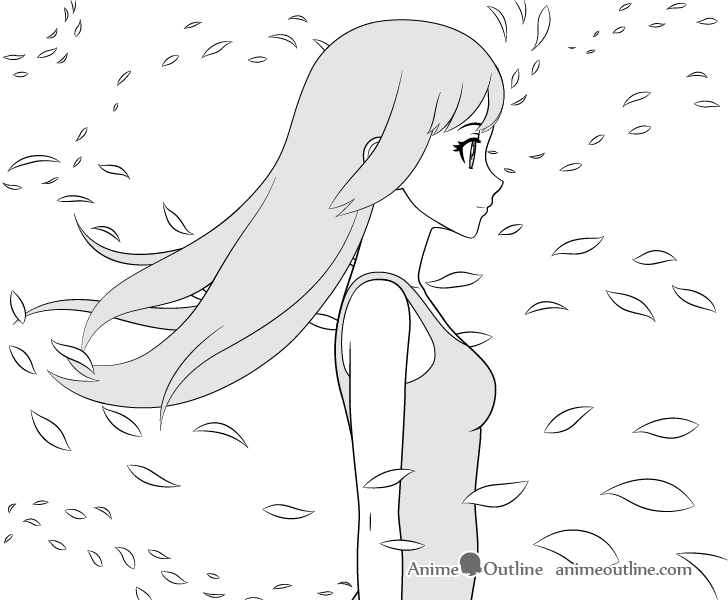 Anime girl in wind drawing