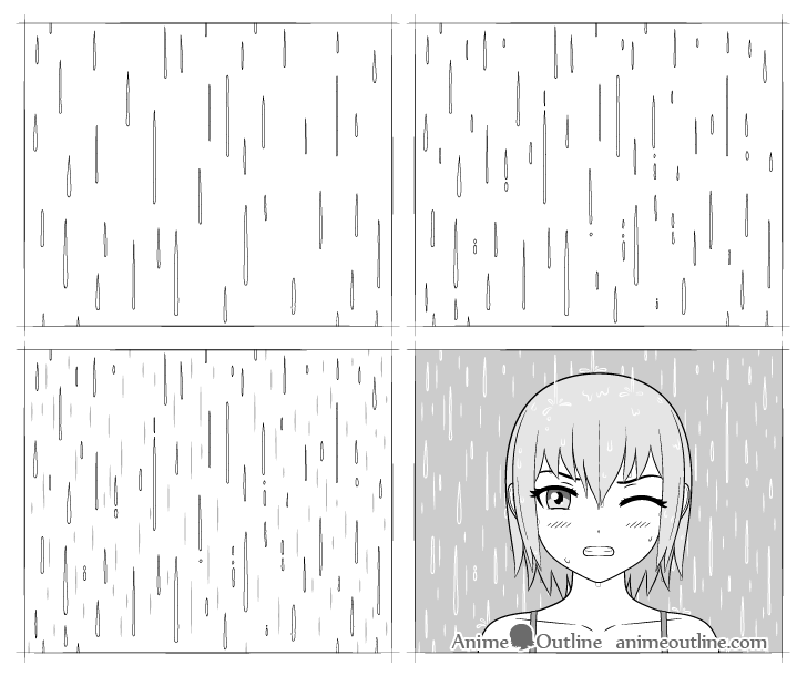 anime rain drawing step by step