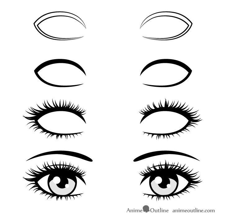 Anime realistic eyelashes drawing step by step