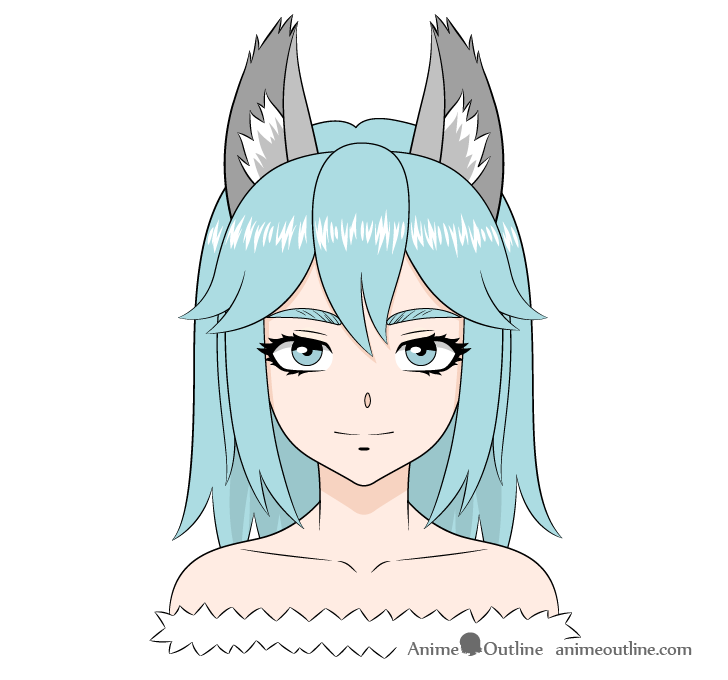 Anime wolf girl drawing