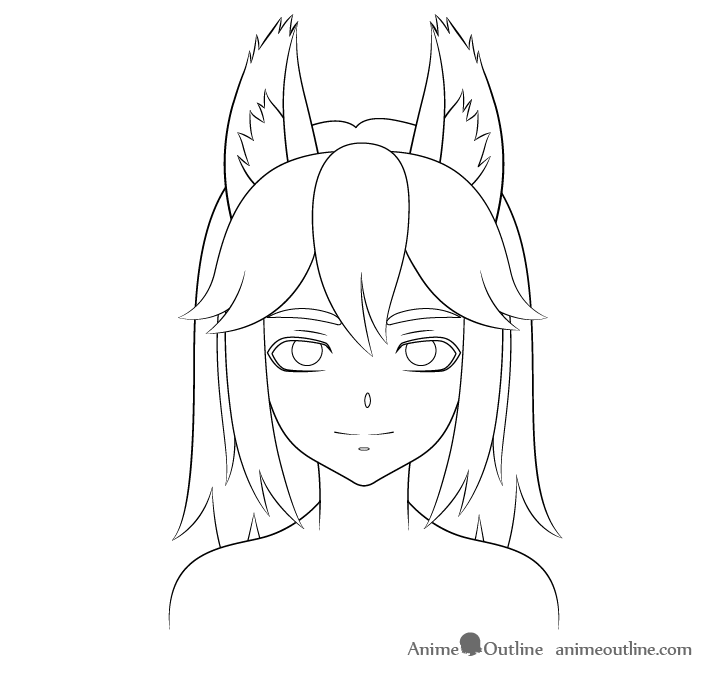 Anime wolf girl ear fluff drawing