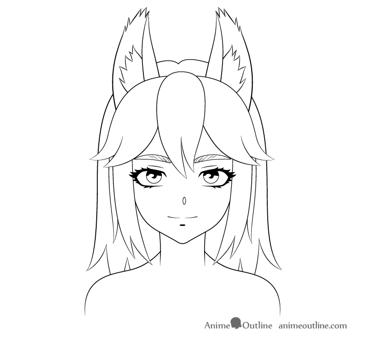 Anime wolf facial details drawing