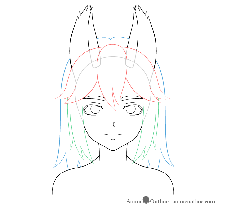 Anime wolf girl hair drawing