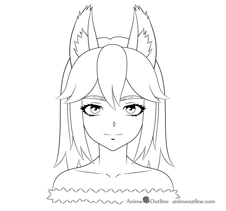 Anime wolf girl line drawing