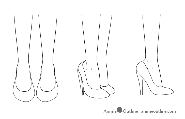 Anime high heel shoes drawing
