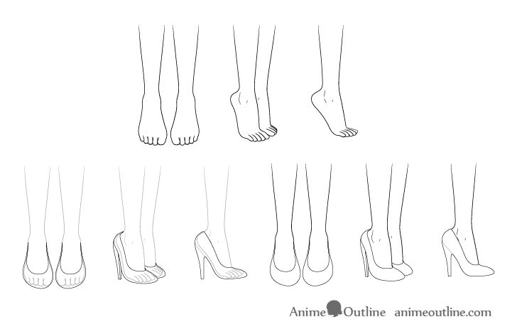 Anime high heel shoes drawing step by step