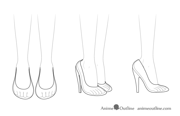 Anime high heel shoes see through drawing