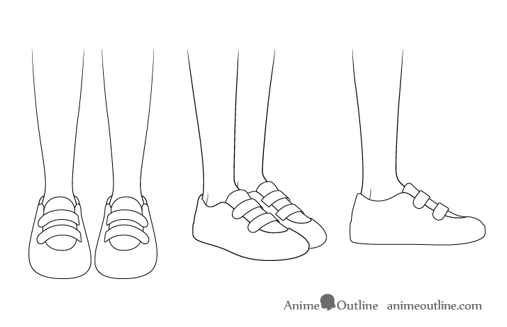 Anime running shoes outline drawing