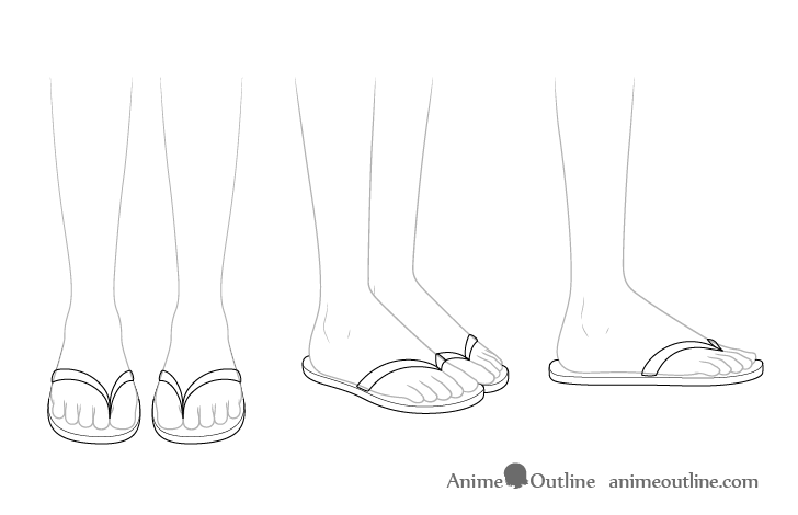 Anime sandals see through drawing