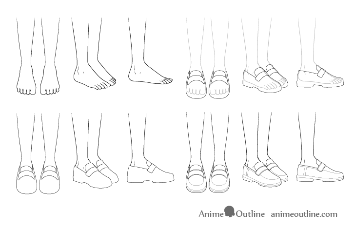 Anime school shoes drawing step by step