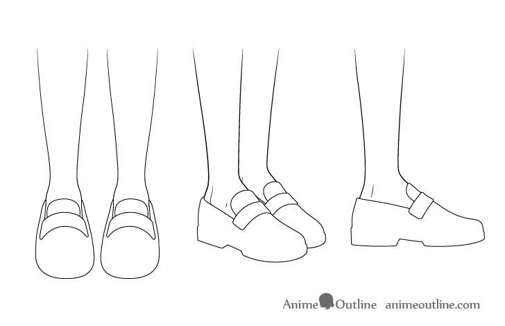 Anime school shoes outline drawing