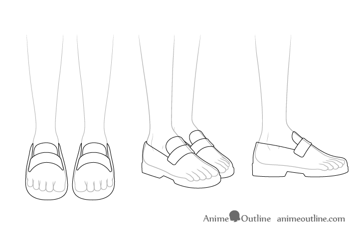Anime school shoes see through drawing