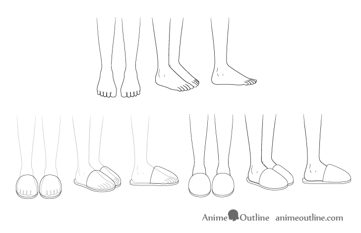 Anime slippers drawing step by step