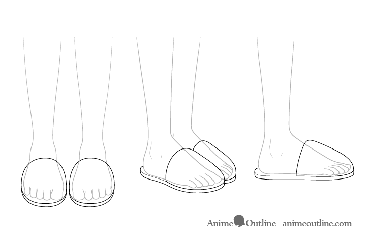 Anime slippers see through drawing