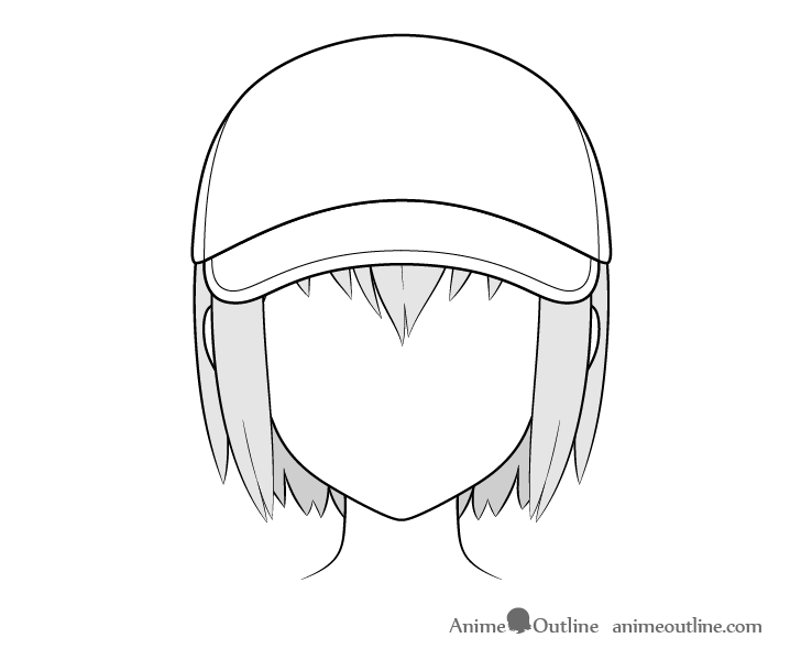 Anime baseball cap drawing
