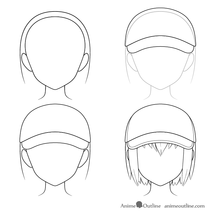 Anime baseball cap drawing step by step