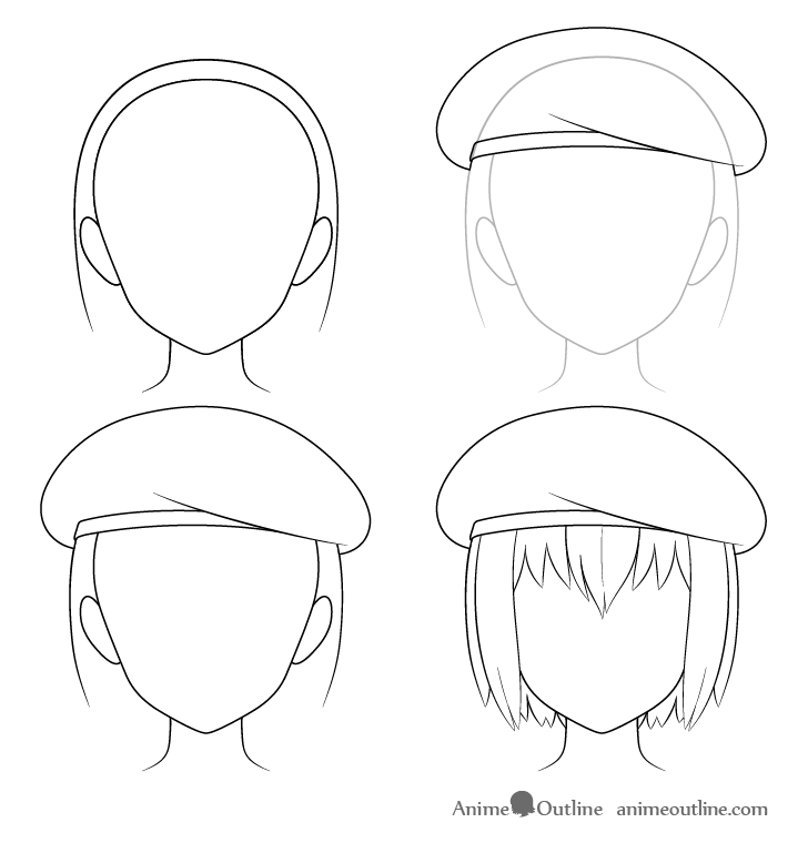 Anime beret drawing step by step
