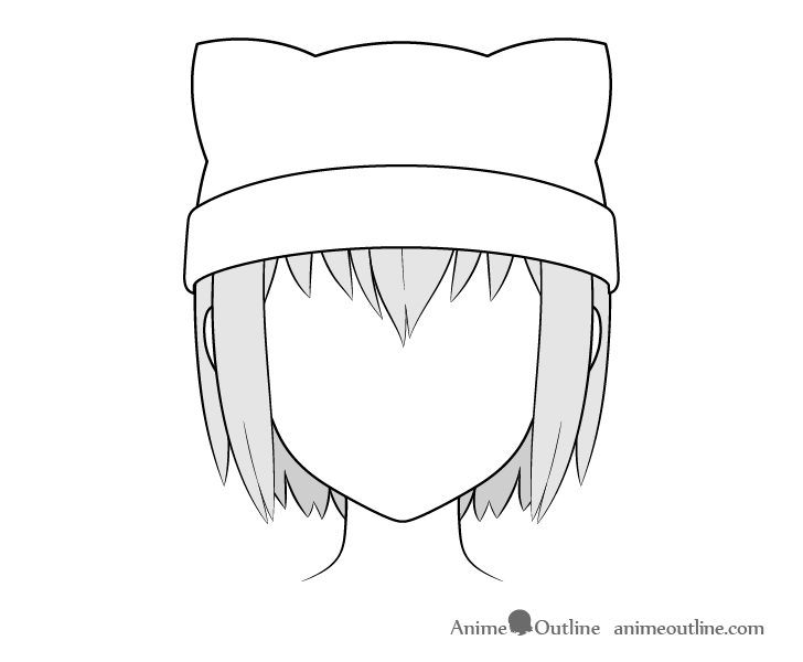 Anime cat ear hat drawing