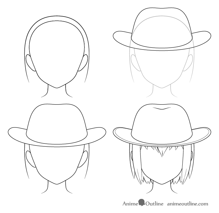 Anime cowboy hat drawing step by step