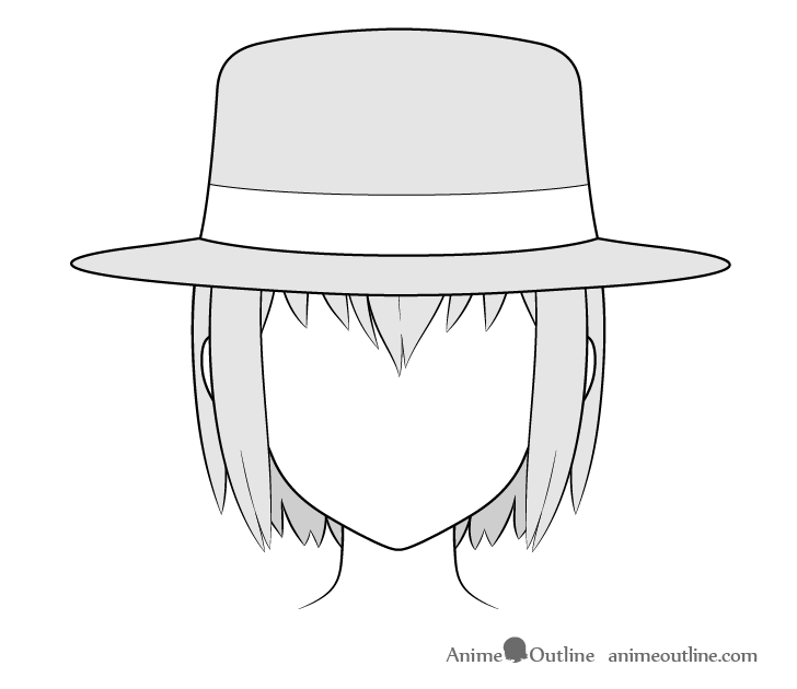 Anime fedora hat drawing