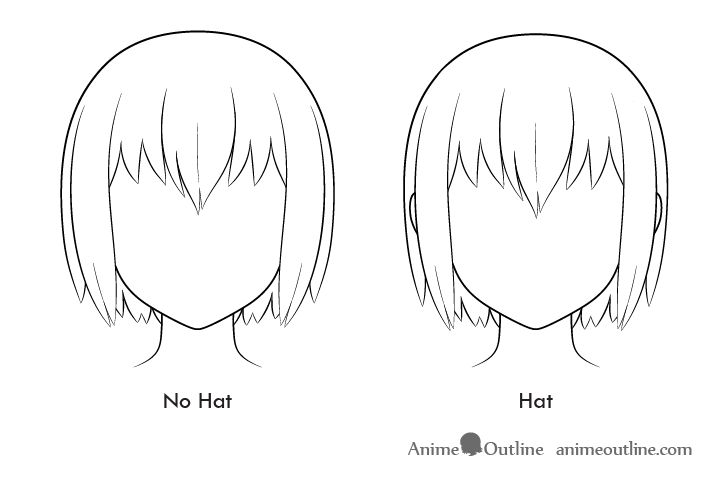 Anime hair volume hat vs no hat