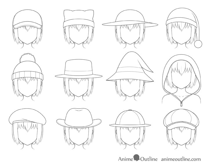 Anime hats drawing