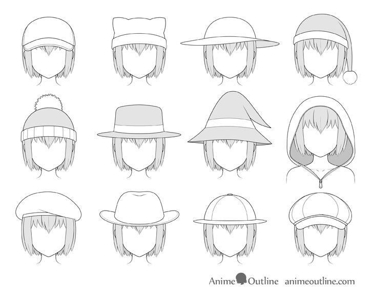 Anime hats shaded drawing