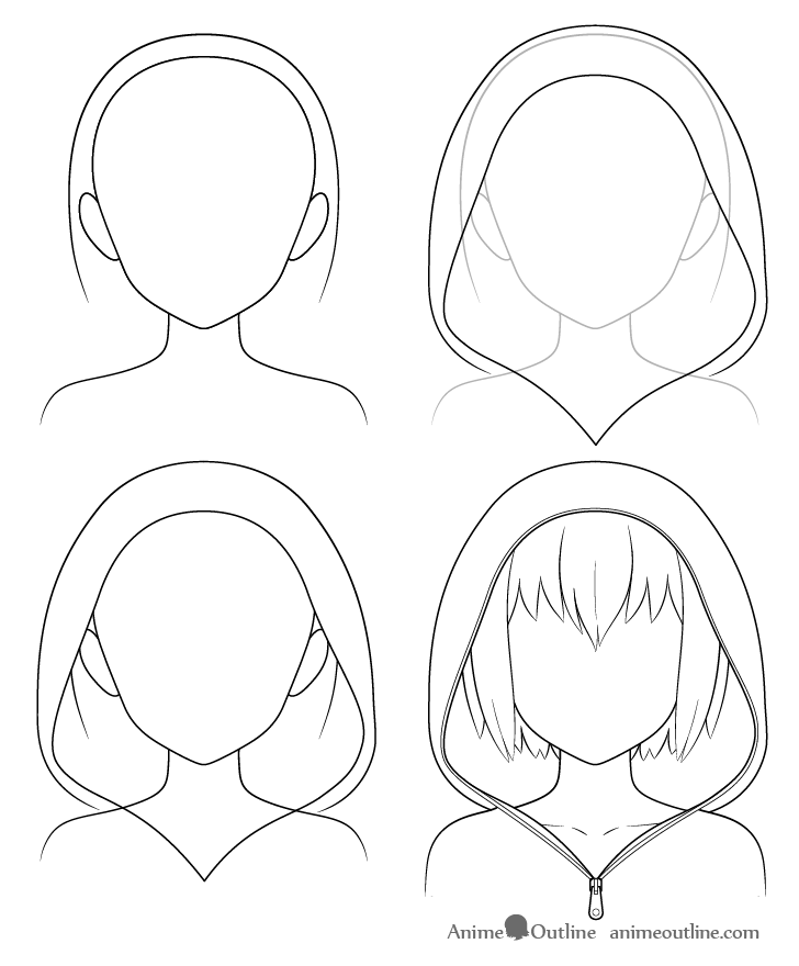 Anime hoodie drawing step by step