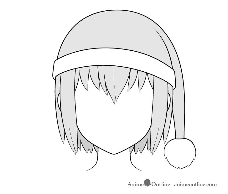 Anime Santa hat drawing