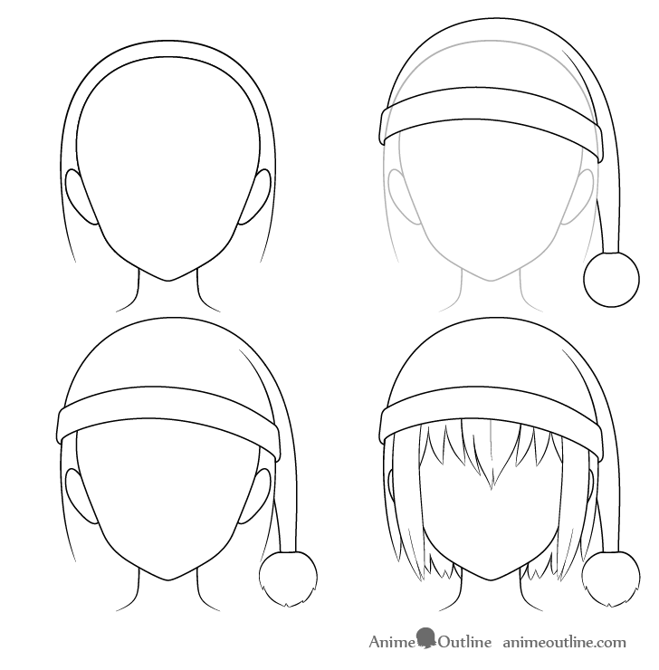 Anime Santa hat drawing step by step