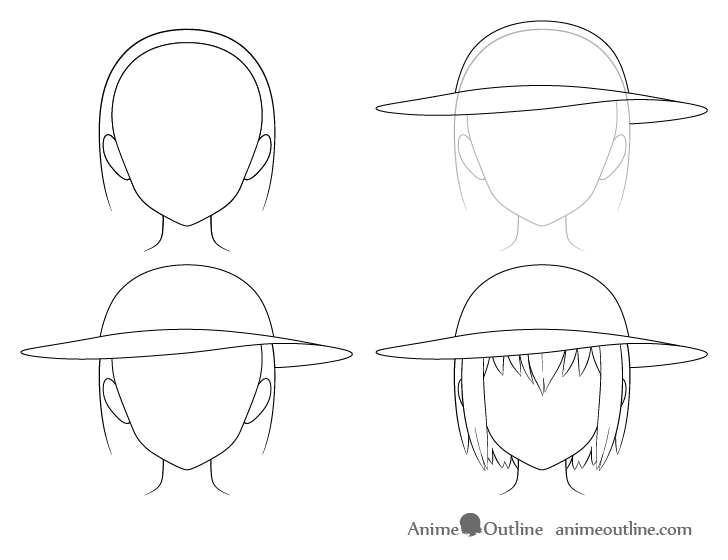 Anime sun hat drawing step by step