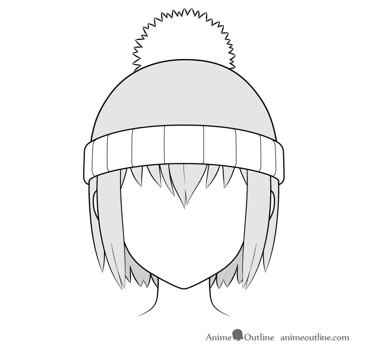 Anime winter hat drawing