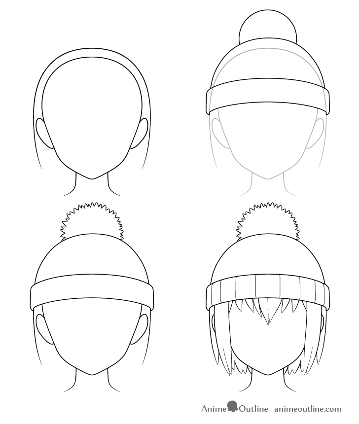 Anime winter hat drawing step by step